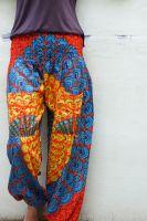 Женские индийские штаны шаровары с узором Павлиньи перья