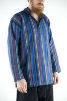 Мужская синяя рубашка в полоску, хлопок, Индия. Купить в интернет магазине в Москве