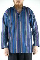 Мужская индийская хлопковая рубашка в полоску. Купить в интернет магазине в Москве