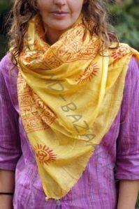 Жёлтый индийский шарф из хлопка (Екатеринбург)