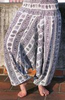 Белые женские штаны алладины с омчиками (символ Ом Аум), купить в Санкт-Петербурге