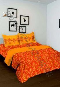 Оранжевое индийское покрывало с наволочками (хлопок)