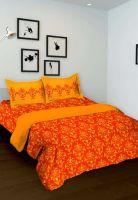 Индийское оранжевое покрывало на кровать из хлопка, купить за 1350 руб