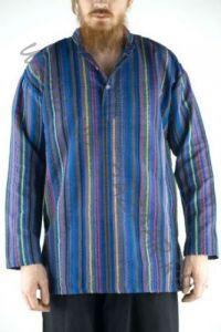 Синяя хлопковая рубашка в полоску (Москва)