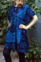 Короткое изумрудное платье (туника) на кулиске из хлопка, Москва